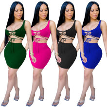 Superstarer Popular Half Exposed Strap Design Package Hip Skirt Tight Fitting Sexy Fashion Vest Ladies Plus Size 2 Piece Dress Set