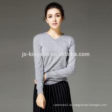 Frauen 100% Merinowolle gestrickter V-Ausschnitt Mode Pullover Pullover