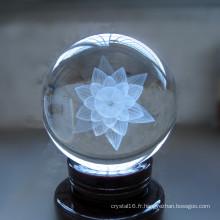 Artisanat de boule en verre de cristal de laser de 3D pour le souvenir