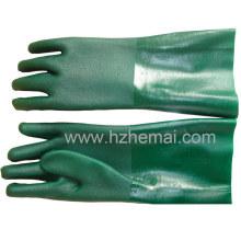Stulpen-Doppel-getauchte grüne PVC-Handschuhe Industrie-Arbeitshandschuh