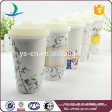 FDA passed double wall ceramic mug with silicone lid
