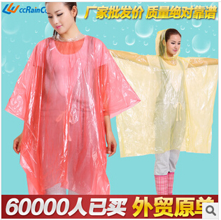 Promotional fashionable disposable peva raincoat for adult Asian Hot