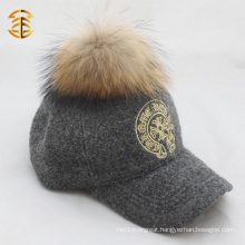 Promotional Custom Embroidery Baseball Cap Sports Cap Fur Poms Hat And Cap