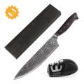 O mais popular faca de corte de carne de aço japonês vg10 faca com alça de madeira vermelha