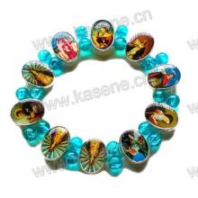 Mode Metall katholischen Rosenkranz Armband mit blauen Glasperlen auf Elastik