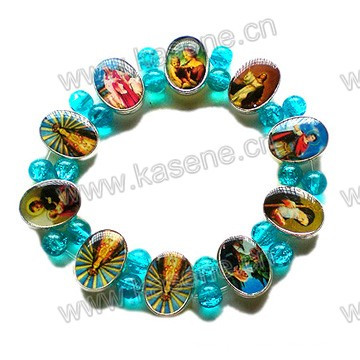Bracelet de chapelet catholique de métal de mode avec des perles de verre bleues sur élastique