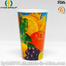 Taza de papel de bebida fría de pared simple de 12 oz con tapa (12 oz)