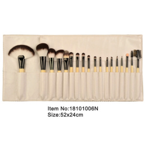 18pcs ivory plastic handle animal/nylon hair makeup brush tool set with printed canvas case