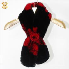 Bufanda de piel de invierno de alta calidad hecha punto bufanda de piel con nudo de flor de piel