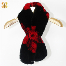 Top Quality Winter Fur Scarf Knitted Fur Scarf with Fur Flower Knot