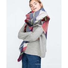 Novos estilos de moda lenço das mulheres xales longo inverno praça imitação de cashmere xaile personalizado