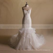 Luxe Srapless Sweet Heart Mermaid Bling Beads Bottom ORG Robe de mariée Chapel Train