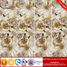 1800x900mm Gold Blume Kunst rustikal glasierte dünne Keramikfliesen