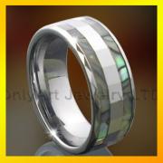 Men Shell Inlaid Ring Tungsten Carbide Fashion Jewelry