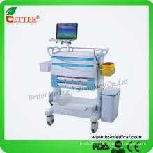 "Aluminum&ABS 4 3""luxury castors Latop Mobile hospital medicine trolley cart"