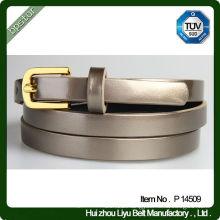 Fashion Skinny PU Leather Grey Female Belt