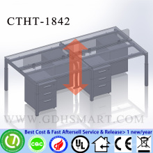 CTHT-1842 screw height adjustable 2 person office desk with PVC sealing finished table top