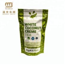 Großhandelslaminiertes Material Kundenspezifisches wiederverschließbares Ziplock, das oben Beutel-Aluminiumfolie-Grün-Tee-Paket-Beutel steht
