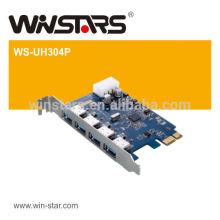 Cartão PCI Express USB 3.0, cartão PCI-E sem fio usb de 4 portas, cartão PCI-e com cabo de alimentação