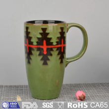 Glazed Ceramic Mug with Hand Painting