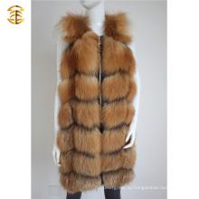 Длинный стиль женского мехового жилета пальто Slim рукавов Fox Fur куртки женщин