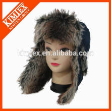 Vente en gros unisex chaud leifeng mignon faux fourrure en laine earflap hiver chapeau