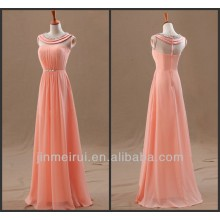 A linha colher sem mangas Beading Chiffon Andar de comprimento Vestidos Peach Color Evening Dress Elegant Women F10