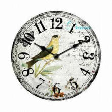 Antique Wooden Wall Clock for Home Decoration, with 30cm MDF Canvas and CE/RoHS Certificates