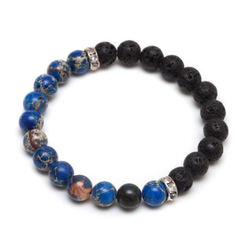 One of Hottest for Natural Stone Bead Bracelet Lavastones Gemstone Space Stone Beads Bracelets supply to Japan Factories