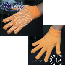 NMSAFETY handloves algodão pvc pontilhada de um lado luvas de trabalho