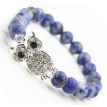 Sodalite Gemstone Bracelet with Diamante alloy Owl Piece