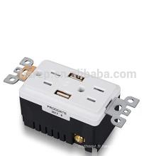 Réceptacle de prise de courant alternatif de 15 ampères homologué UL avec 2 ports de chargeur USB intégrés