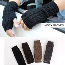 Womens Mens Unisex Winter Warm Mitten Fingerless Cable Knitted Gloves (SF101)