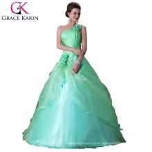 Grace Karin nuevo estilo un hombro verde Quinceanera vestidos CL2678