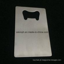 Abridor de garrafa de aço inoxidável de alta qualidade da forma do cartão de nome com superfície escovada para a promoção