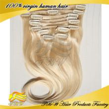 Peruanischer Jungfrauhaarverlängerungsclip im blondes Haar des menschlichen Haares für Modefrau