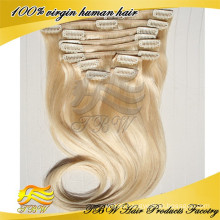 Peruvian virgin hair extension clip in human hair blonde hair for fashion woman