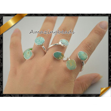 Druzy Ring Druzy Ring Silver Plated Edged Double Rings Druzy Natural Ring Druzy Jewelry Gemstone Ring (FR003)