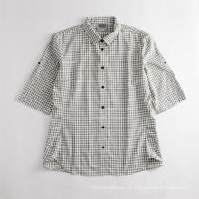 Camisa deportiva de manga corta a cuadros pequeños para hombres transpirables