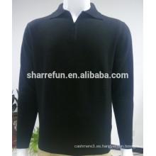 Punto negro 12GG color puro 100% prendas de punto de cachemira de los hombres puros, suéter de cachemira Fashional para los hombres