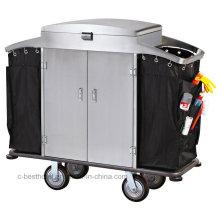 Carro de la criada de la limpieza de acero inoxidable de la alta calidad con final cepillado