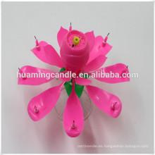 Rosa flor cumpleaños vela con música