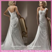 WD0033 corpete de tafetá pregueado adornado por um broche de contas e plissado um esparguete de ombro fechamento de volta varredura vestido de casamento do trem
