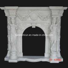 White Marble Statuary Fireplace Mantel