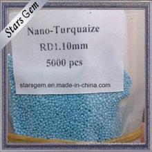 Großhandelspreis-runde lose Maschine geschnittene Nano-Türkis-Steine für die Schmuckherstellung