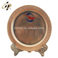 Decoración casera personalizada antiguos regalos de vuelta de bronce rojo placa de recuerdo de metal