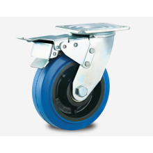 Heavy Duty Type Double Ball Bearing Brake Series Blue Rubber Caster Khx3-R7