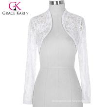 Stock Womens Ladies Long Sleeve Cropped White Lace Shrug Bolero BP000049-2
