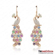 Los pendientes de las mujeres cristalinas plateadas oro del pavo real 18k (ER0040-C)