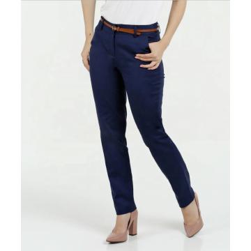 Vente chaude dames slim bleu marine pantalon de couleur